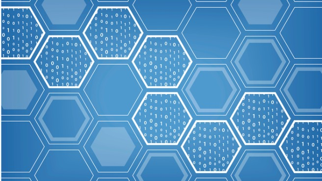 blockchain-blue-vector-background-with-hexagonal-shaped-pattern-vector-id641929434